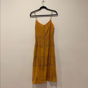 Beautiful mustard colored summer dress w/ lace